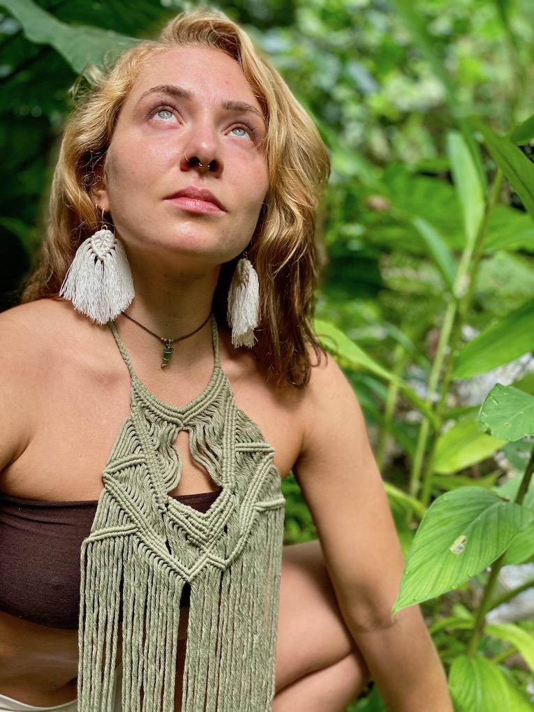 Tribal style long macrame necklace - MAYA