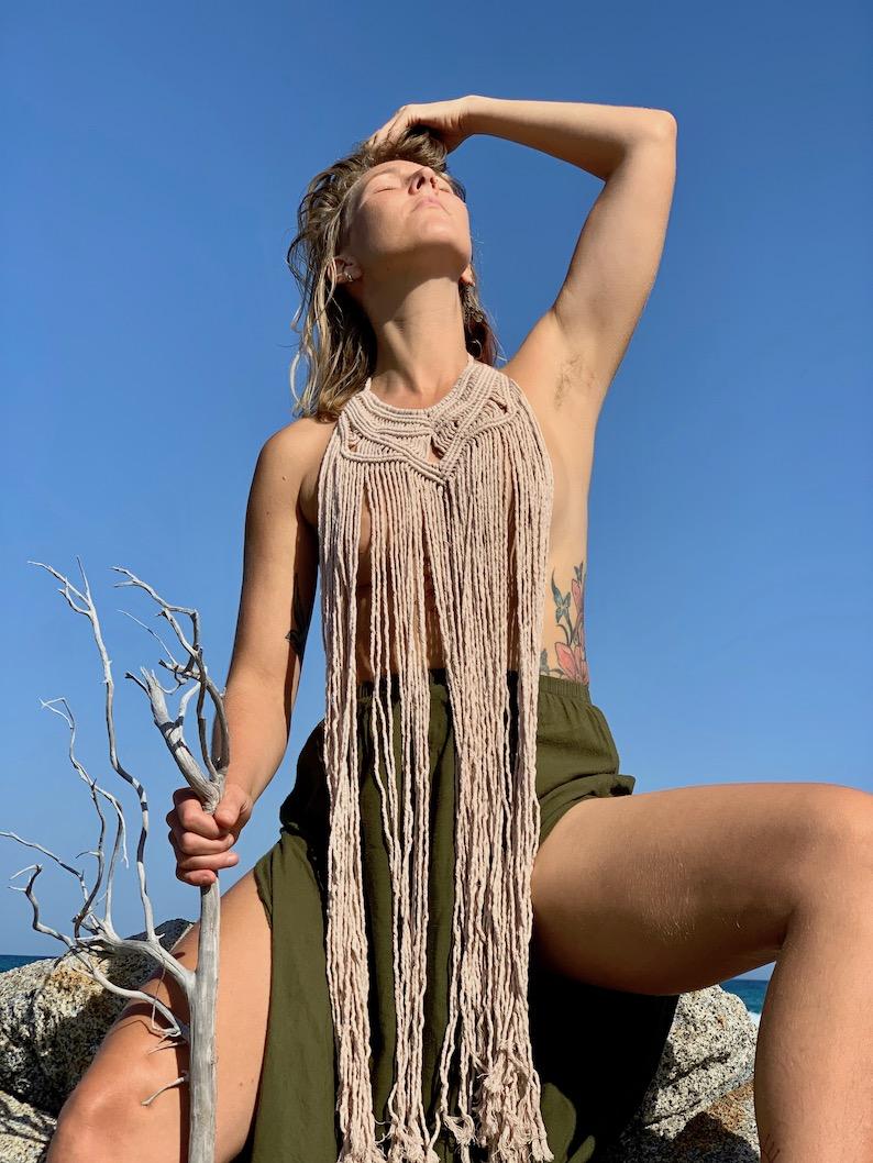 Hippie style long macrame necklace - CALA GONONE