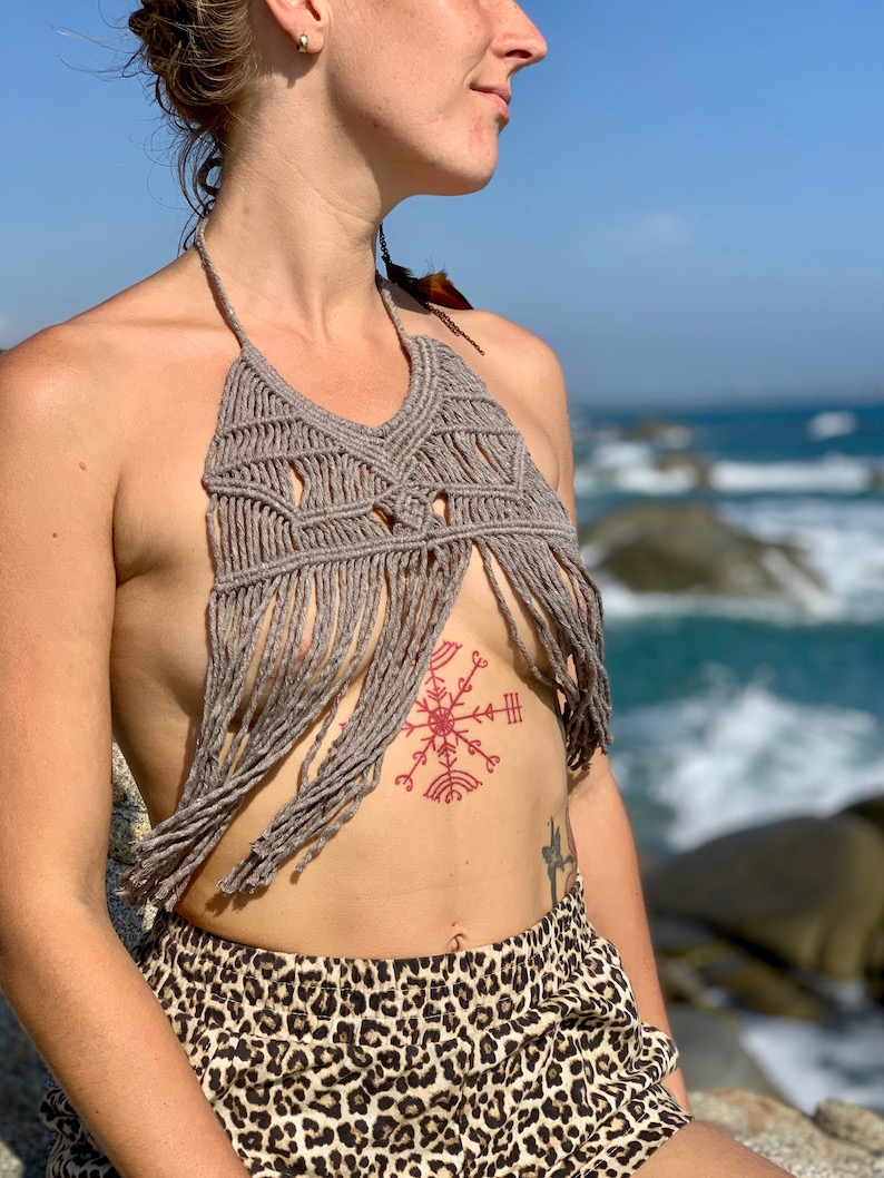 Soft cotton macrame necklace - CHIA