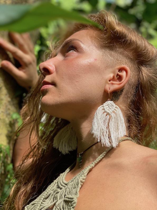 Ultra light macrame earrings with tassels - XILITLA