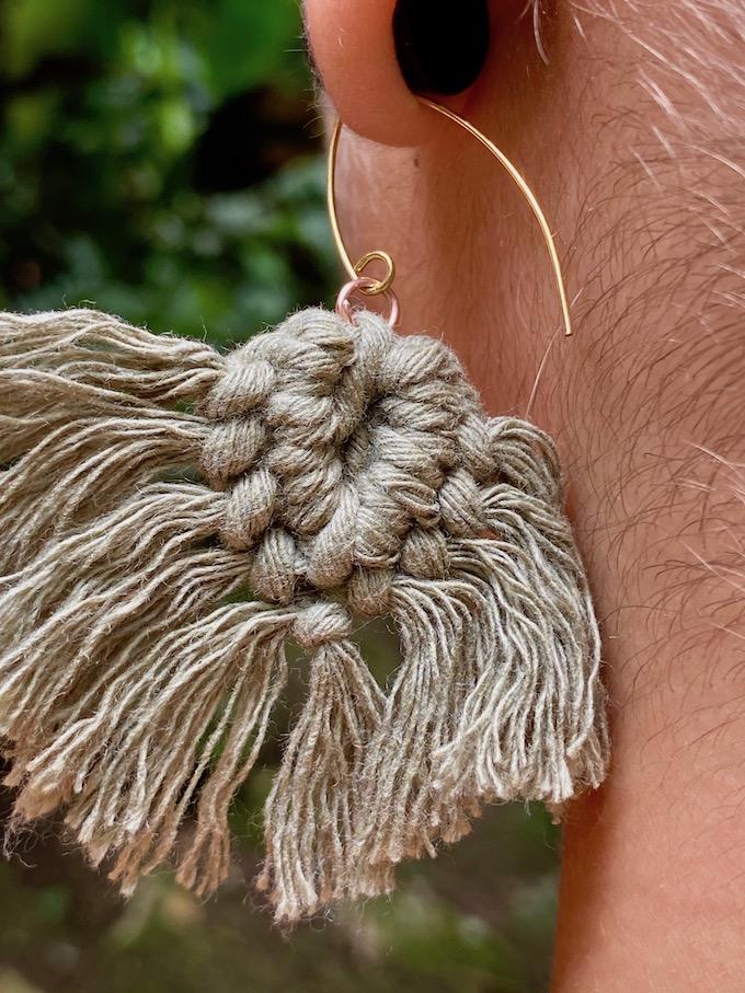 Soft cotton macrame tassel earrings - OAXACA